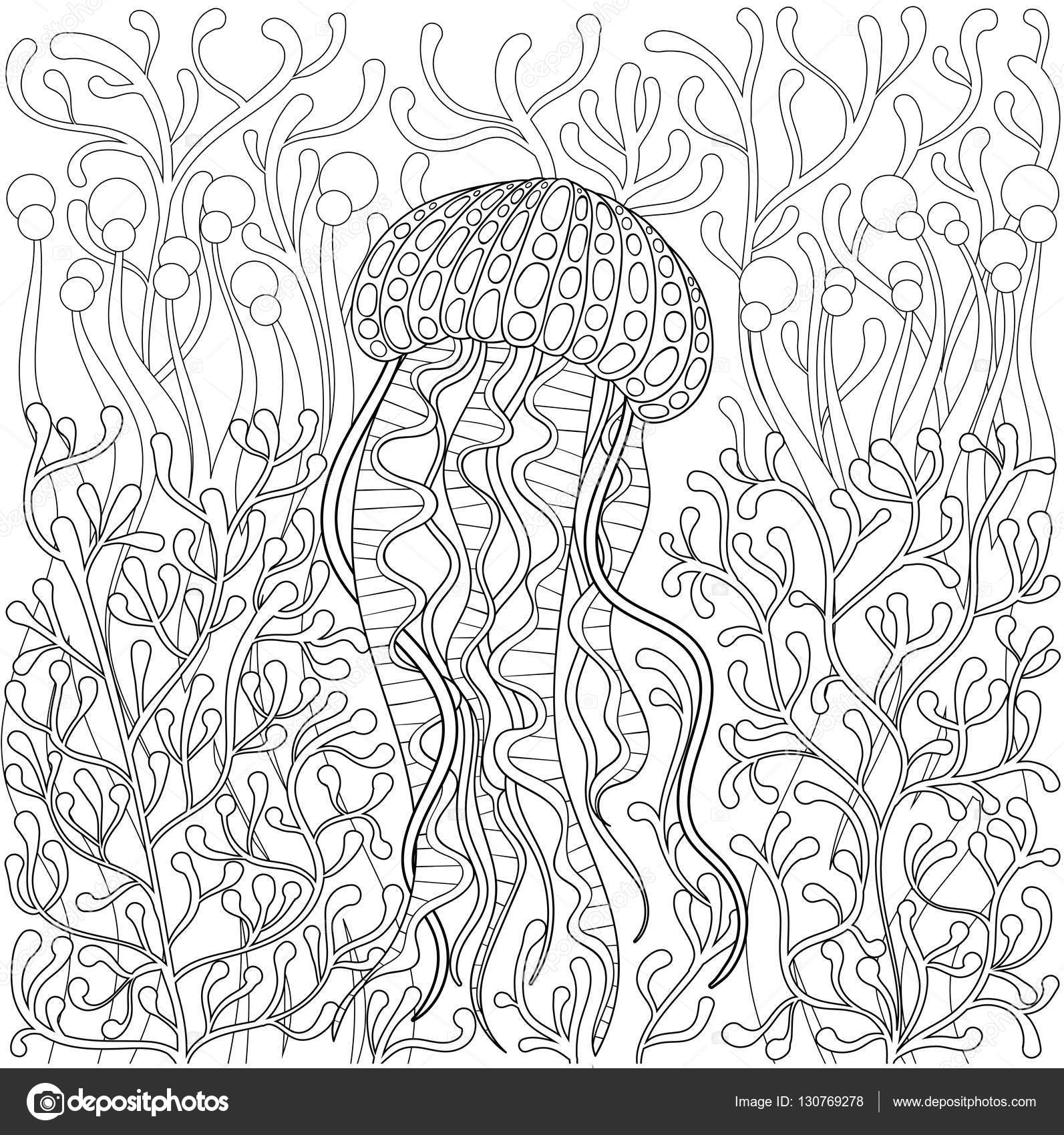 vector jellyfish medusa in zentangle style hand drawn sea animal