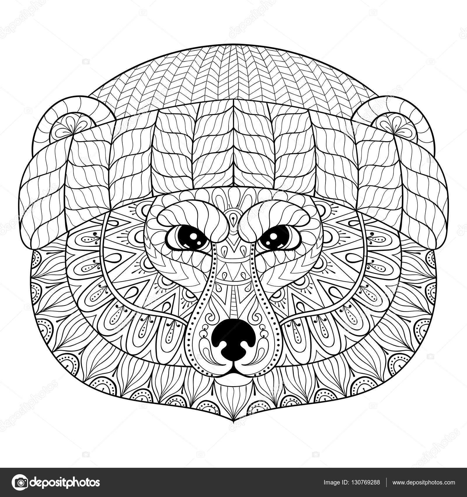 Ayı Yüzüne Zentangle Doodle Stil Vektör Elle çizilmiş Vahşi Hayvan