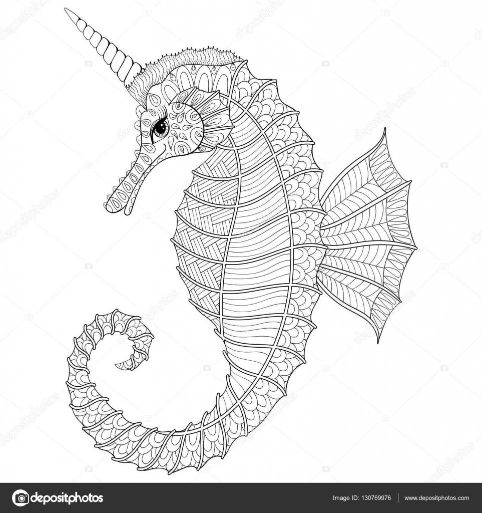 Zentangle Stylized Black Sea Horse Like Unicorn Hand