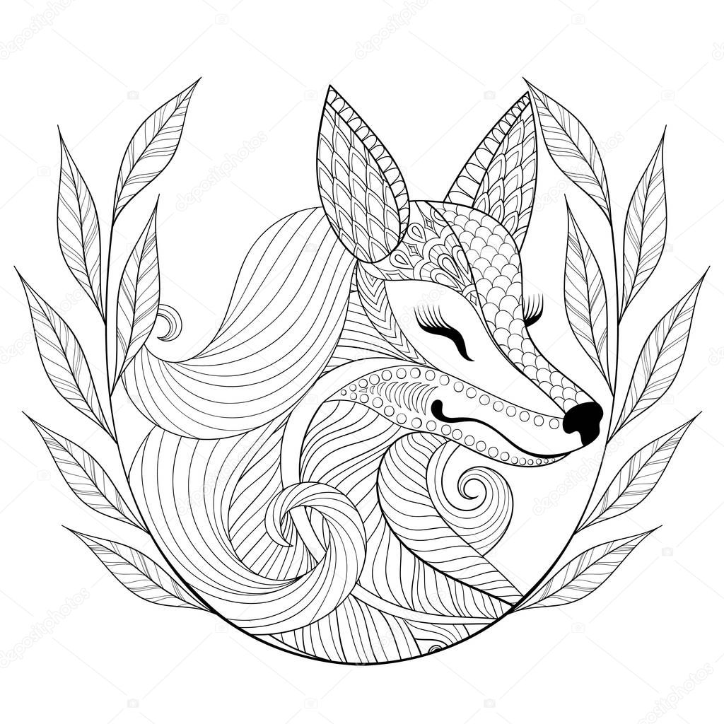 Zentangle Fox face in monochrome doodle style. Hand drawn Wild animal with wreath, vector face illustration for adult coloring pages, books, art therapy. Black sketch for logo, t-shirt print.