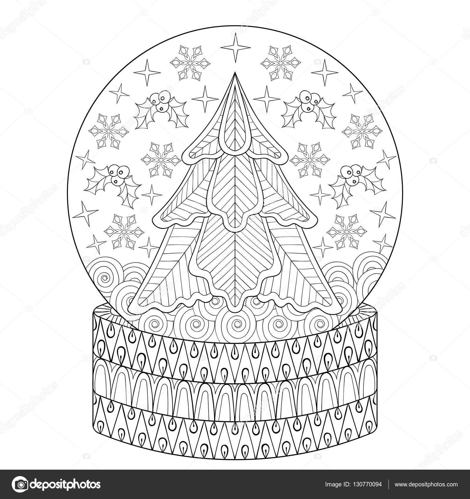 Zentangle vector globo de nieve con árbol de abeto de Navidad, los ...