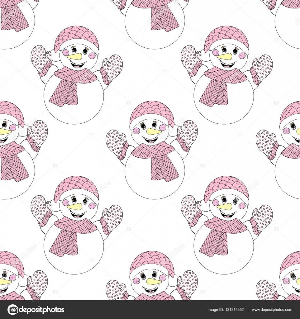 Vector zentangle snowman seamless pattern. Hand drawn Christmas ...