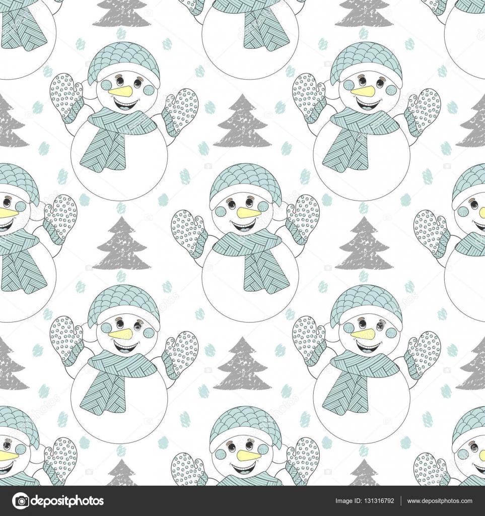 Patrón transparente de vector muñeco de nieve feliz. Mano dibujada ...