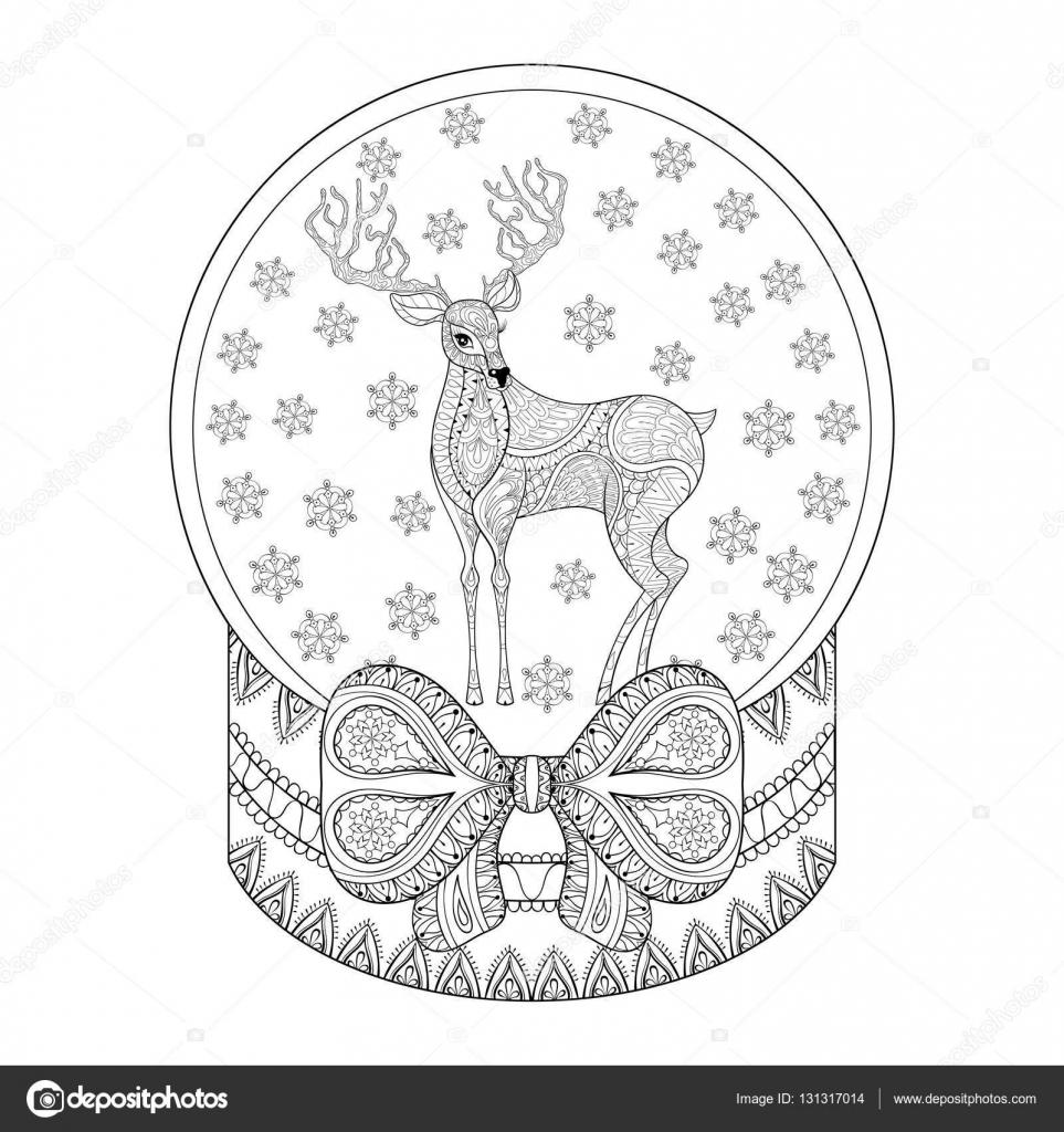Globo de nieve de Navidad vector zentangle con renos, copos de nieve ...