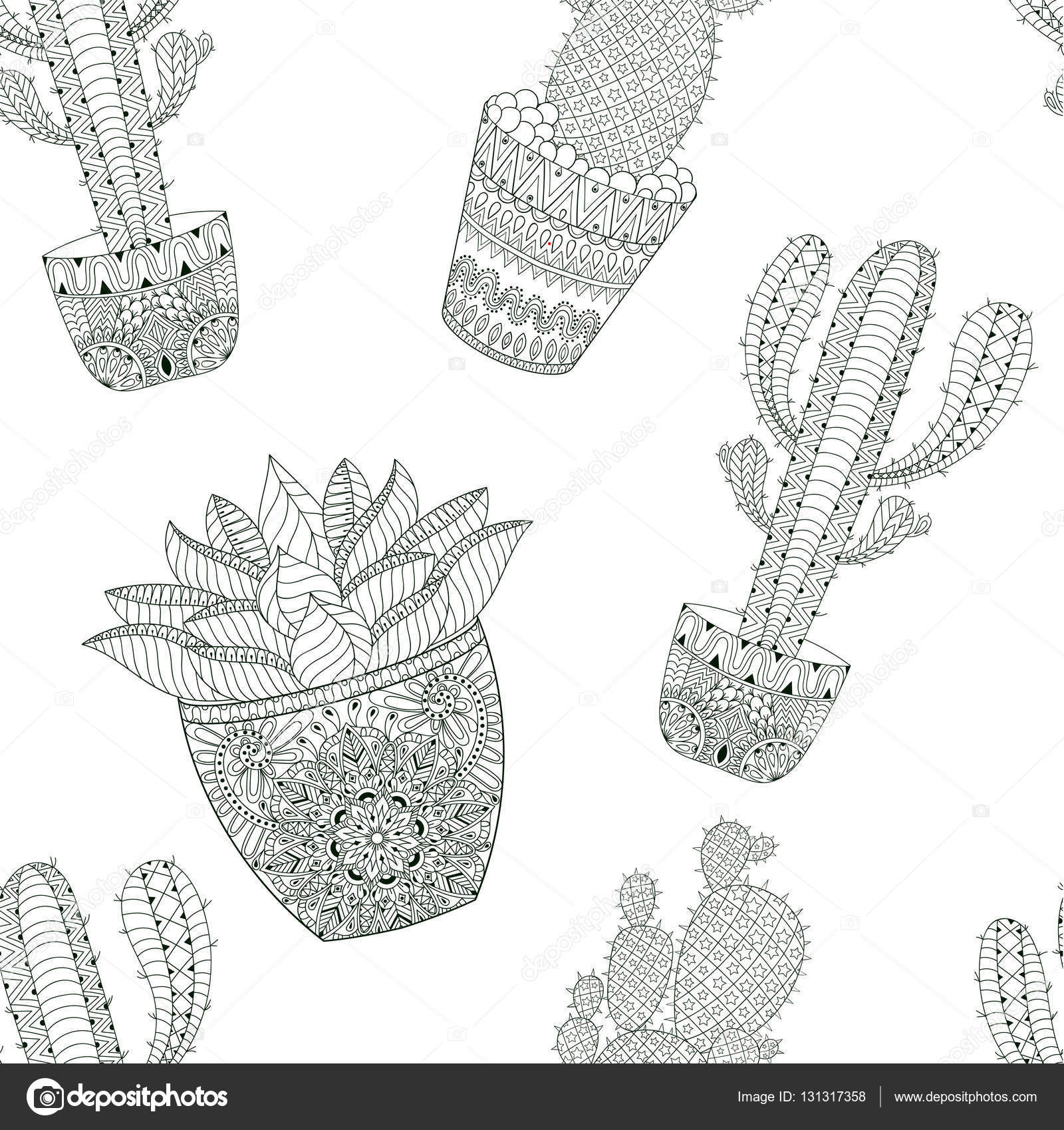 Zentangle Mexican Cactus Seamless Pattern Vector Illustration Hand