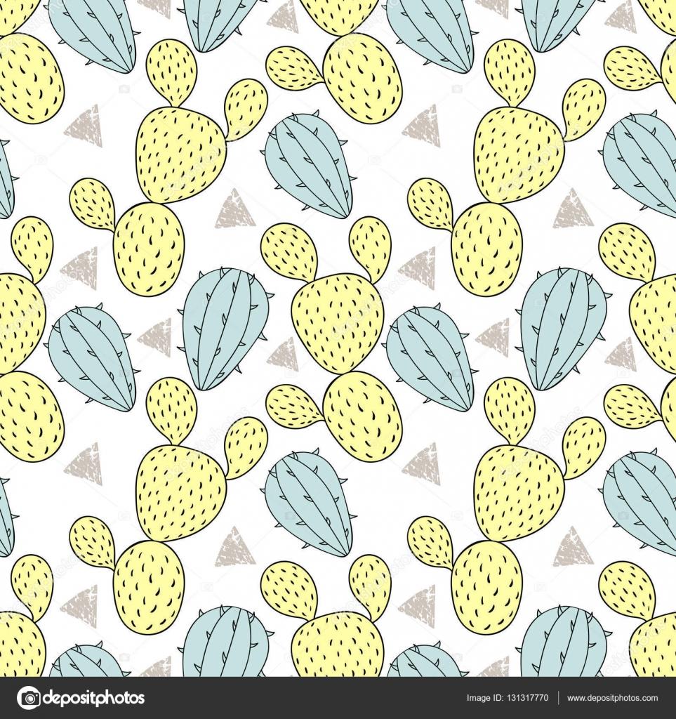 Farbe Kaktus Musterdesign, Vektor-Illustration. Handgezeichnete ...