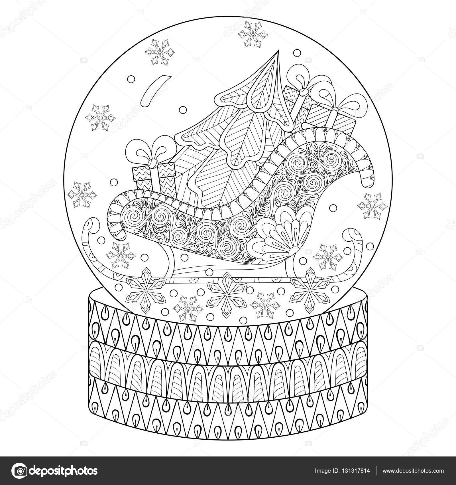 Vector zentangle snow globe with sledge, Christmas tree and gift ...