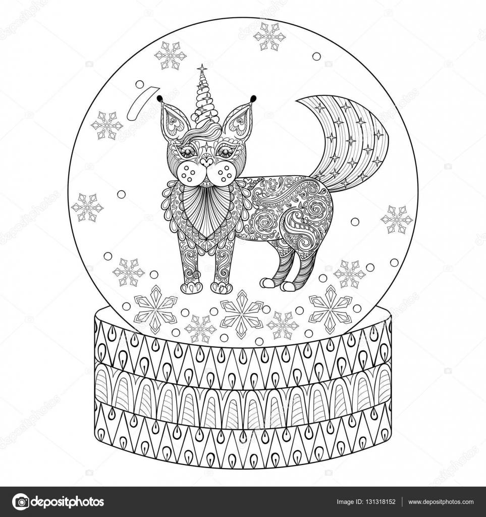 вектор Zentangle снежный шар с Maic Cat как единорог руки