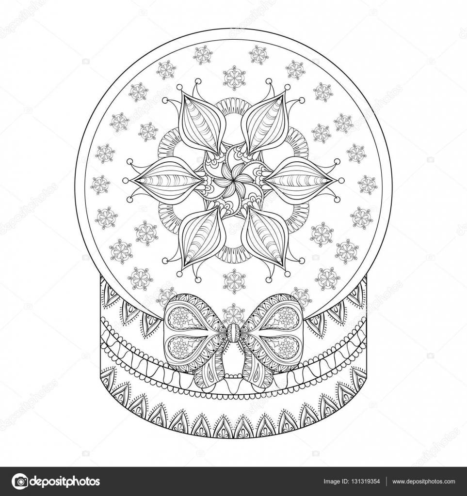 Vector zentangle Chriatmas snow globe with snow flake ...