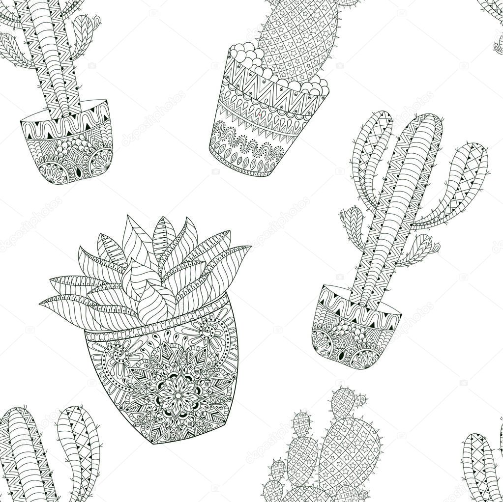 Zentangle mexican Cactus seamless pattern, vector illustration. Hand drawn desert plant, succulent pots in doodle style for adult anti stress coloring page, book, art therapy.