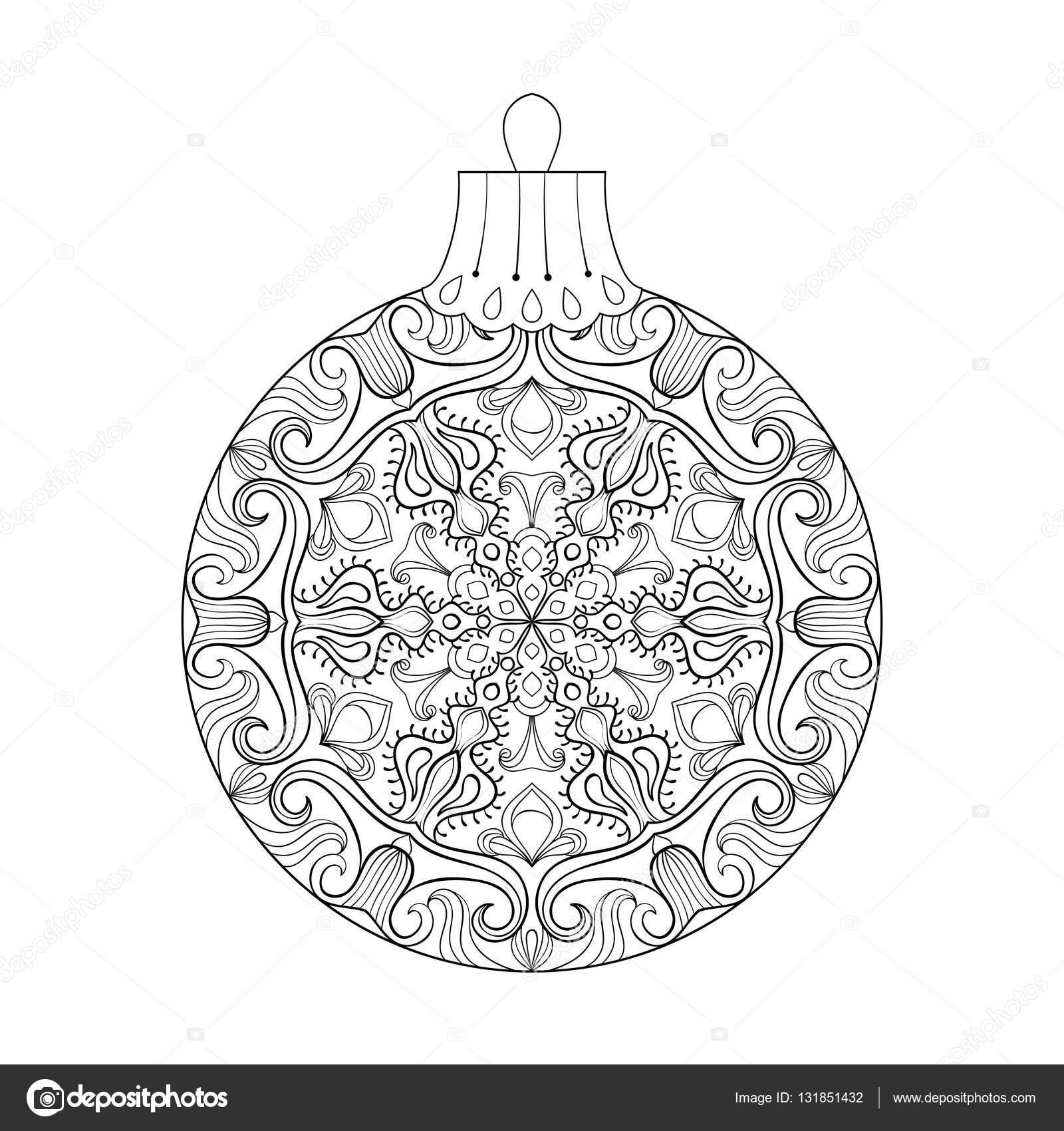 ヤドリギ、新年フリーハンド装飾要素でビンテージ ベクトル クリスマス ボール。功妙な柄の大人のぬりえのイラスト。書籍