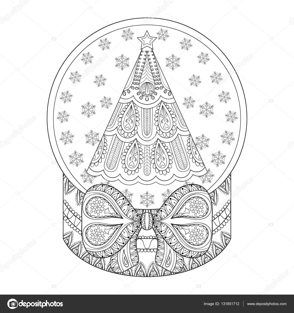 Vector zentangle snow globe with Christmas tree. Hand drawn ethnic ...