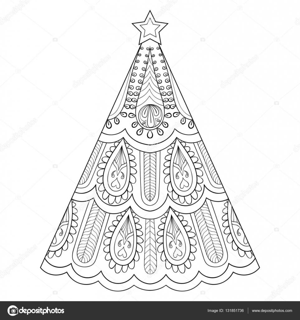 Zentangle vector árbol de Navidad, ornamental mano ilustración ...