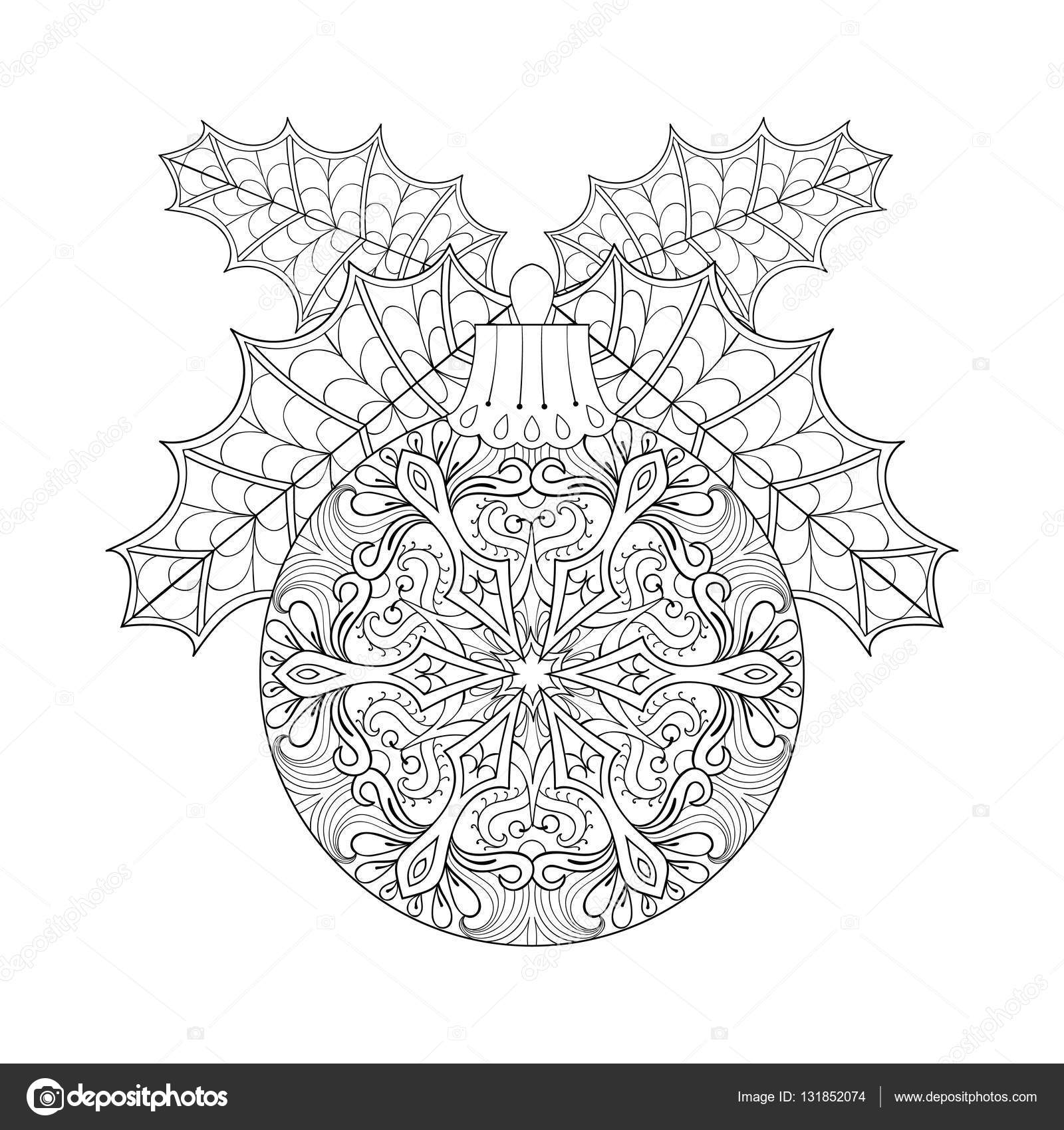 Vector vintage christmas ball with mistletoe new year 2017 vector vintage christmas ball with mistletoe new year 2017 freehand decoration element artistic patterned buycottarizona Image collections