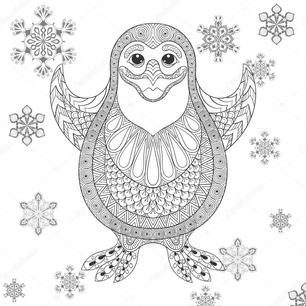 Zentangle stylized Penguin.  Vector the cheerful bird illustration. Sketch for tattoo, postcards, adult anti stress coloring page.