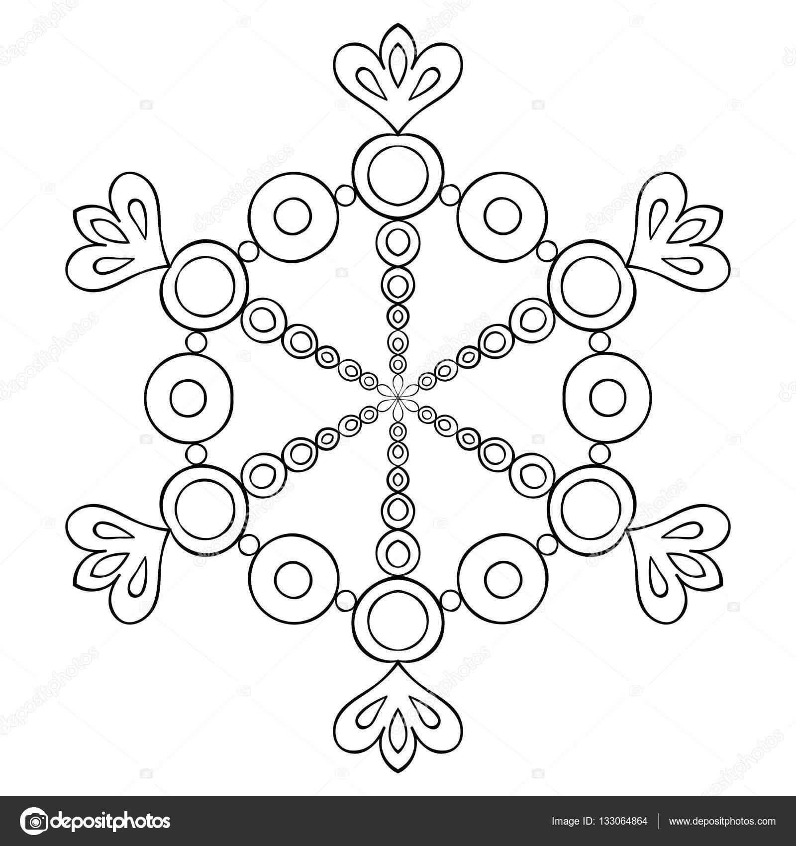 Vector Papier Knipsel Sneeuwvlok In Zentangle Stijl Zwarte Mandala