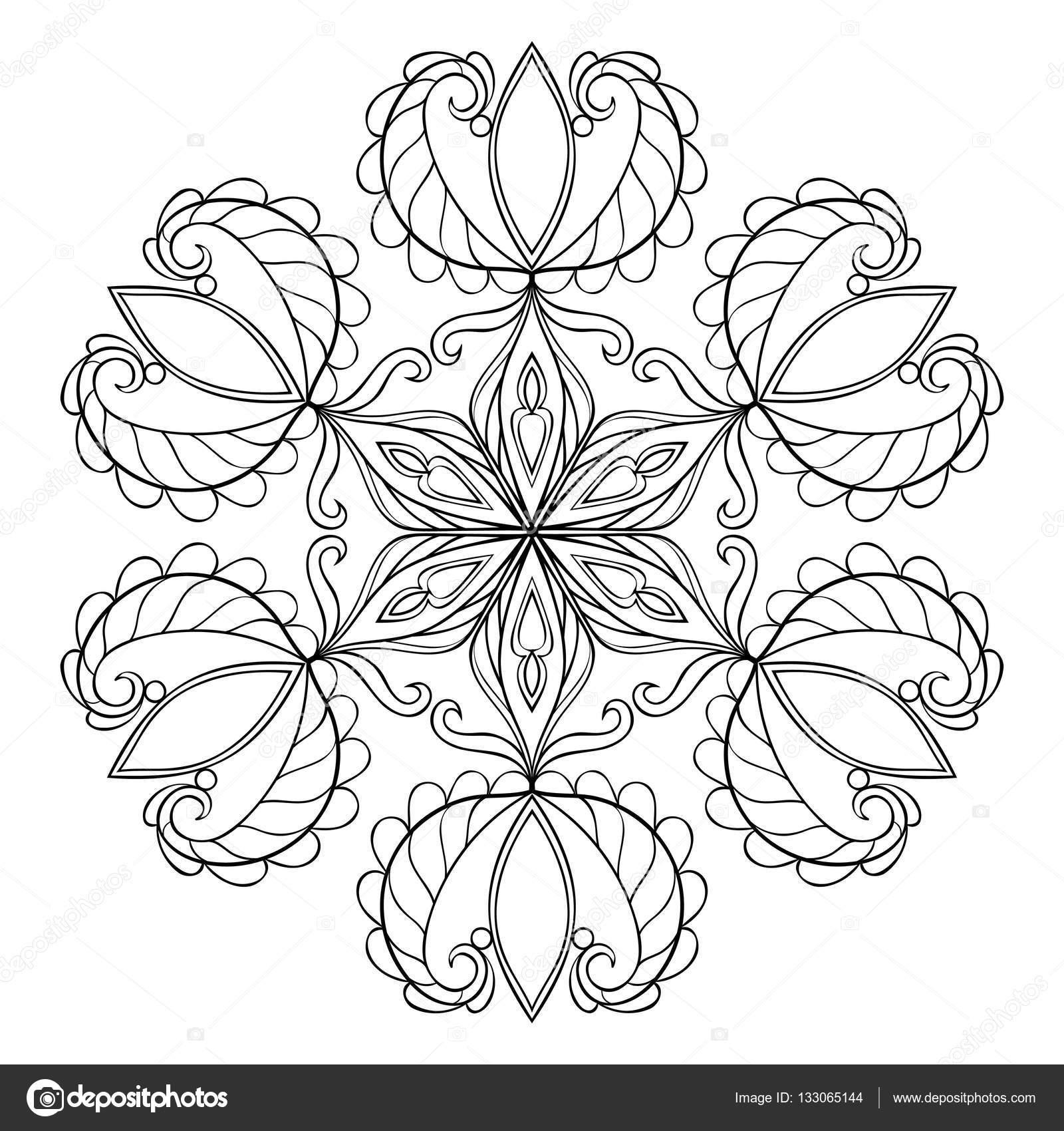 Vector schwarz Schneeflocke im Mandala für Erwachsene Malvorlagen ...