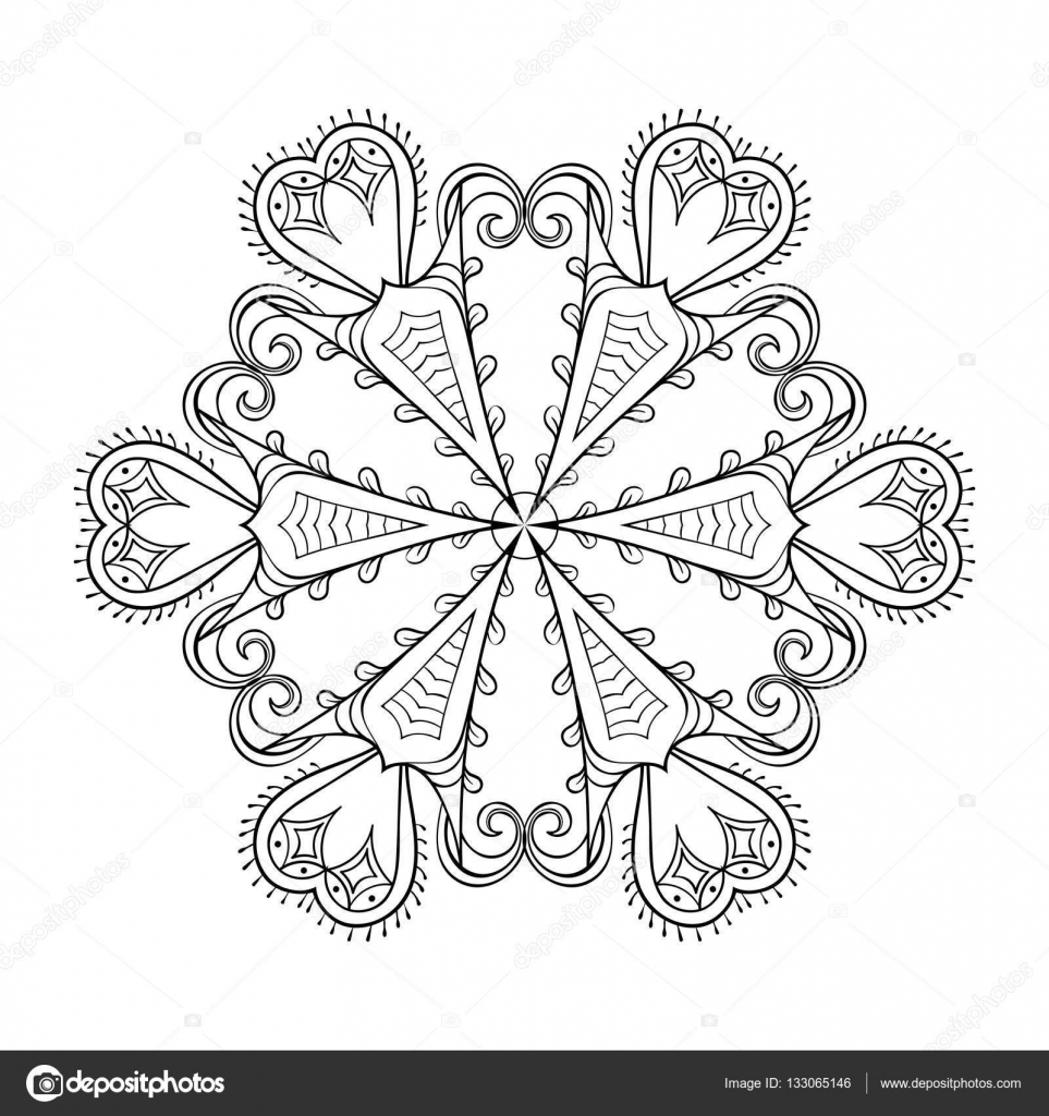 Zentangle Elegante Schneeflocke Winter Vektorgrafik Für Dekoration