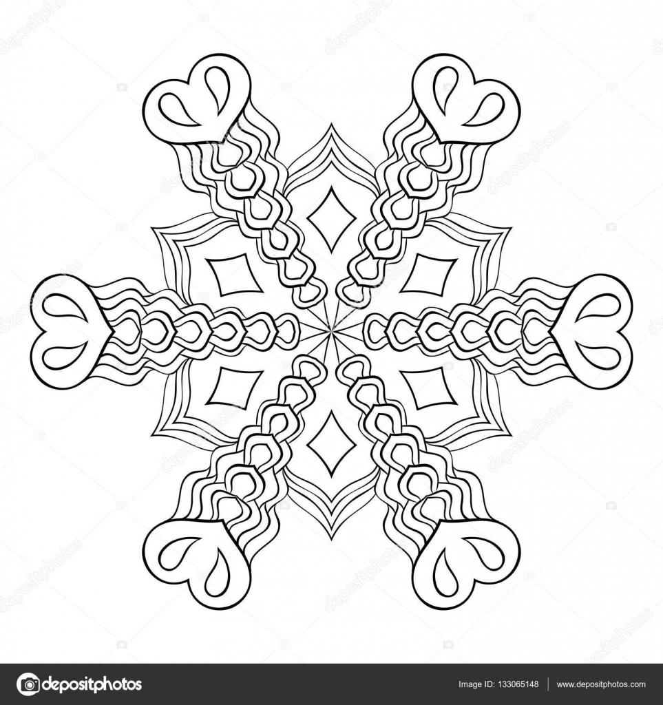 Zentangle Elegante Sneeuwvlok Mandala Voor Volwassene Kleurplaten