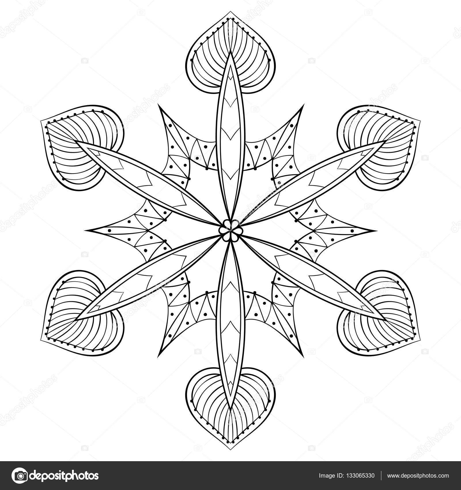 Vector zentangle elegant snow flake, mandala for adult coloring ...