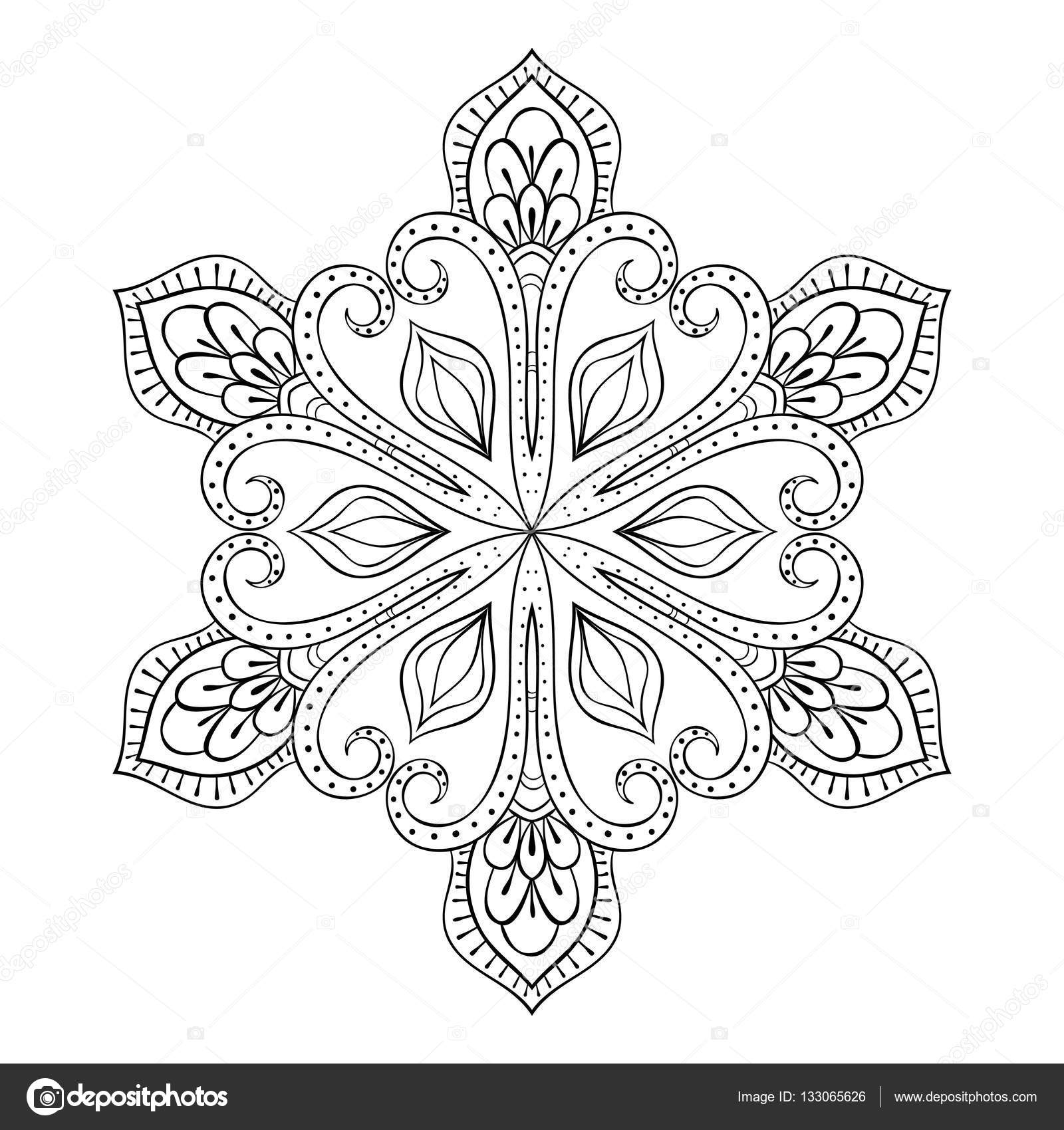 Vector Snow Flake In Zentangle Style Doodle Mandala For Adult Coloring Pages Ornamental Winter
