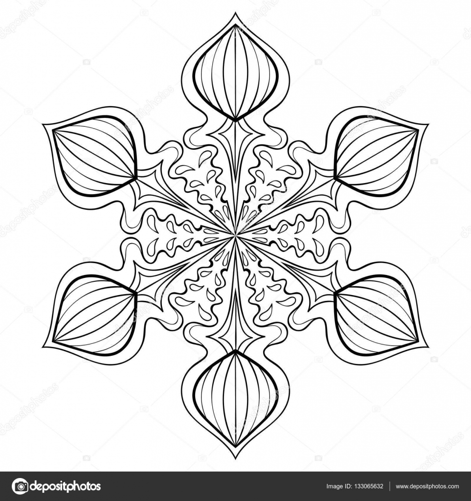 vector snow flake in zentangle style doodle mandala for