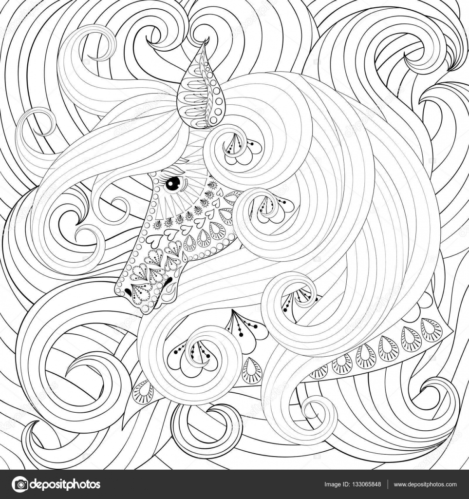 Adult coloring book with gorse head with long hairs, zentangle ...