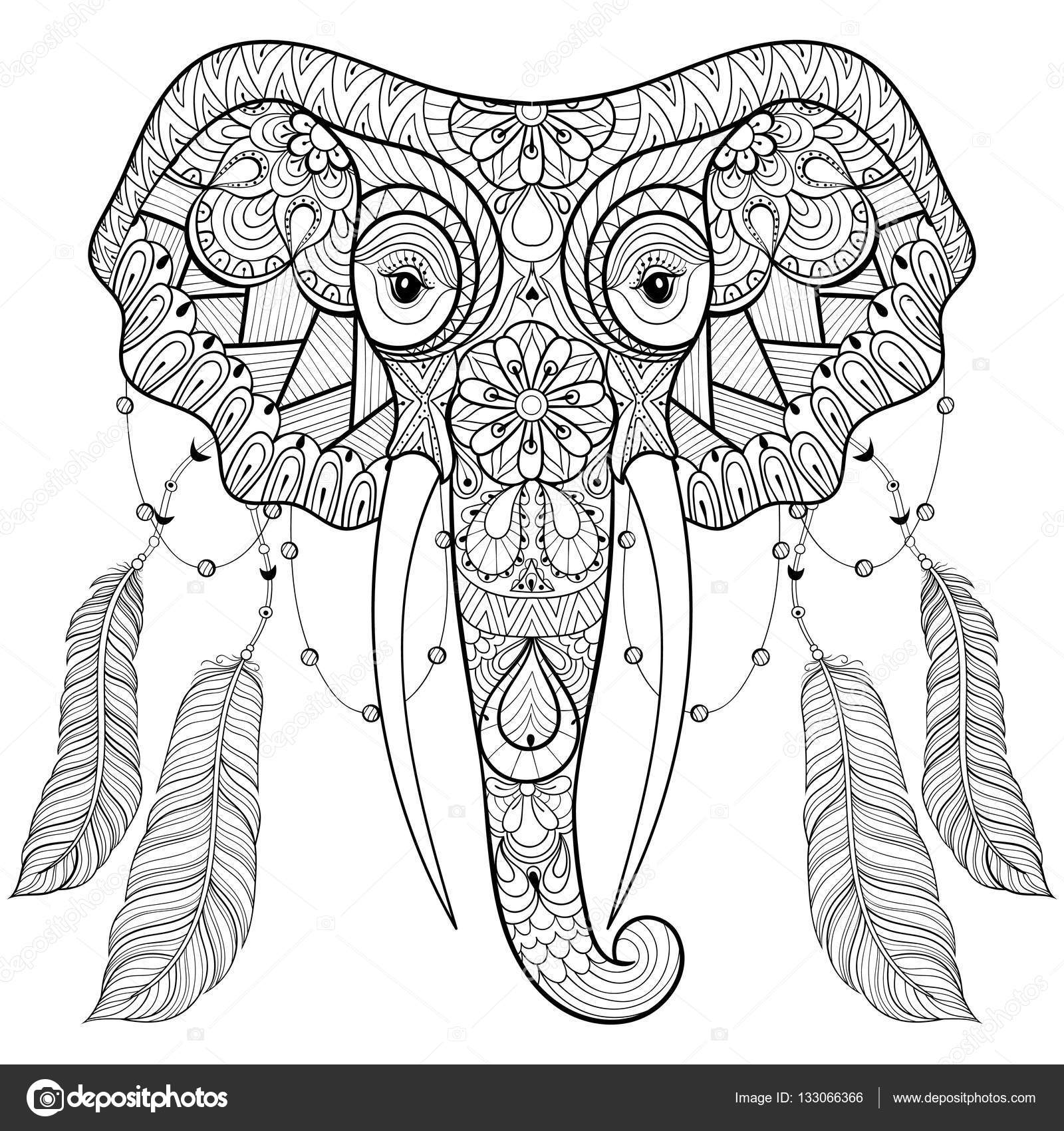 Zentangle Indian Elephant With Bird Feathers In Boho Chic Style Freehand Sketch For Adult Anti Stress Coloring Page Book Vector Illustration T Shirt
