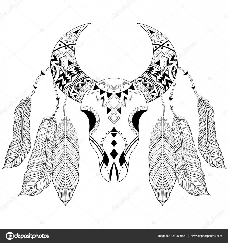 Zentangle boho animal skull with bird feathers. American ethnic ...