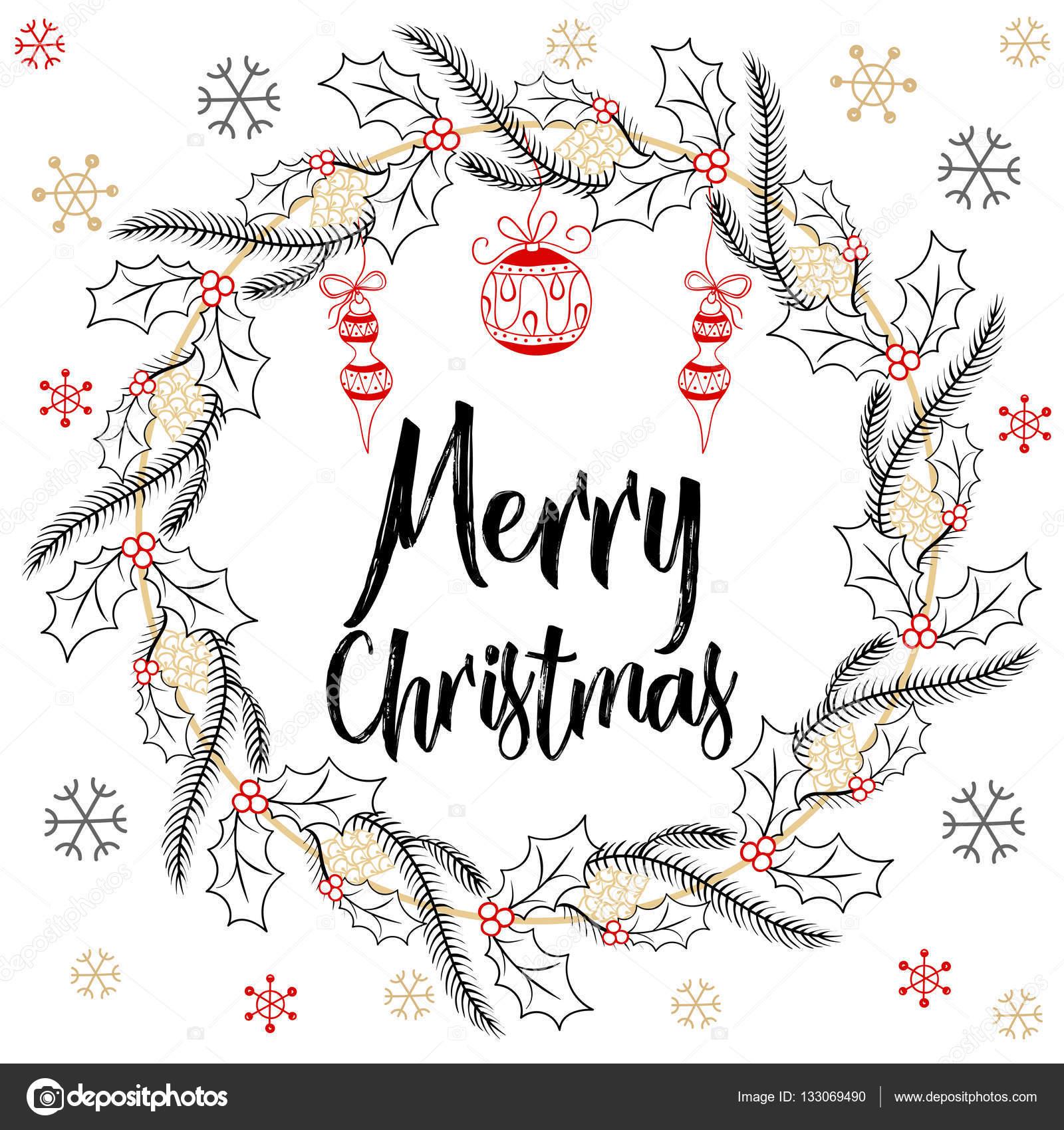 Holidays modern calligraphy merry christmas hand drawn