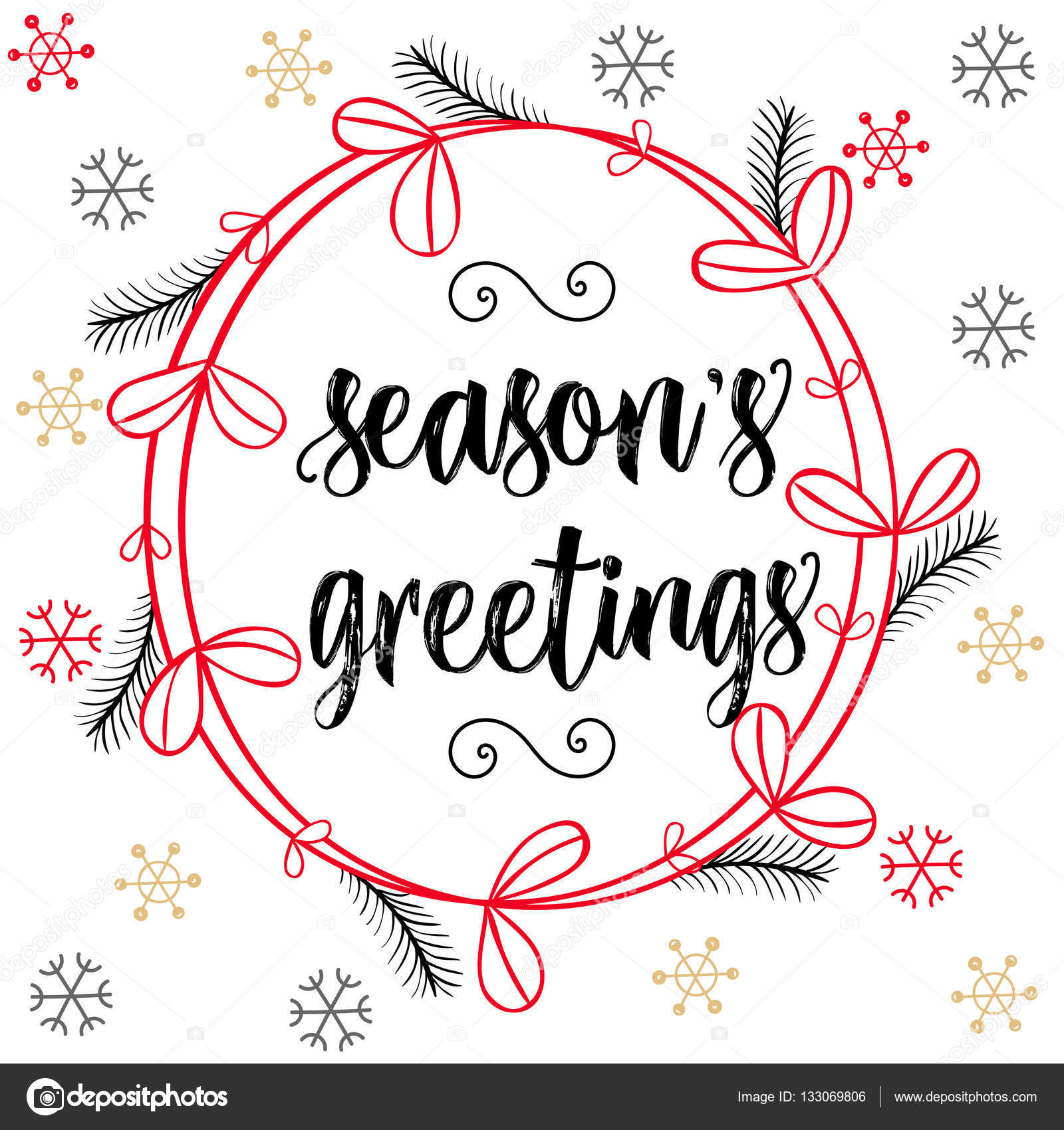 Christmas calligraphy seasons greetings hand drawn brush christmas calligraphy seasons greetings hand drawn brush lettering in red black colors floral wreath snow flakes greeting card template banner kristyandbryce Choice Image