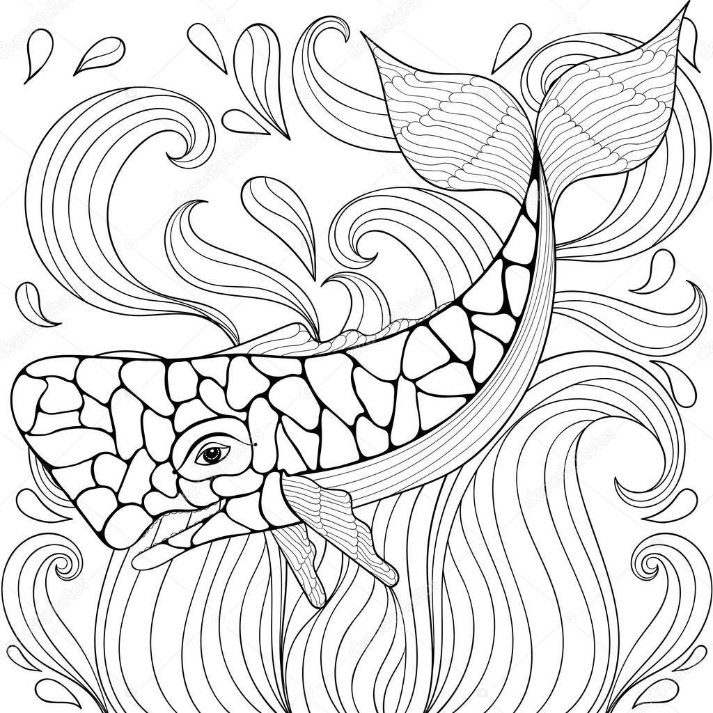 Zentangle Baleia Em Ondas. Desenho à Mão Livre Para