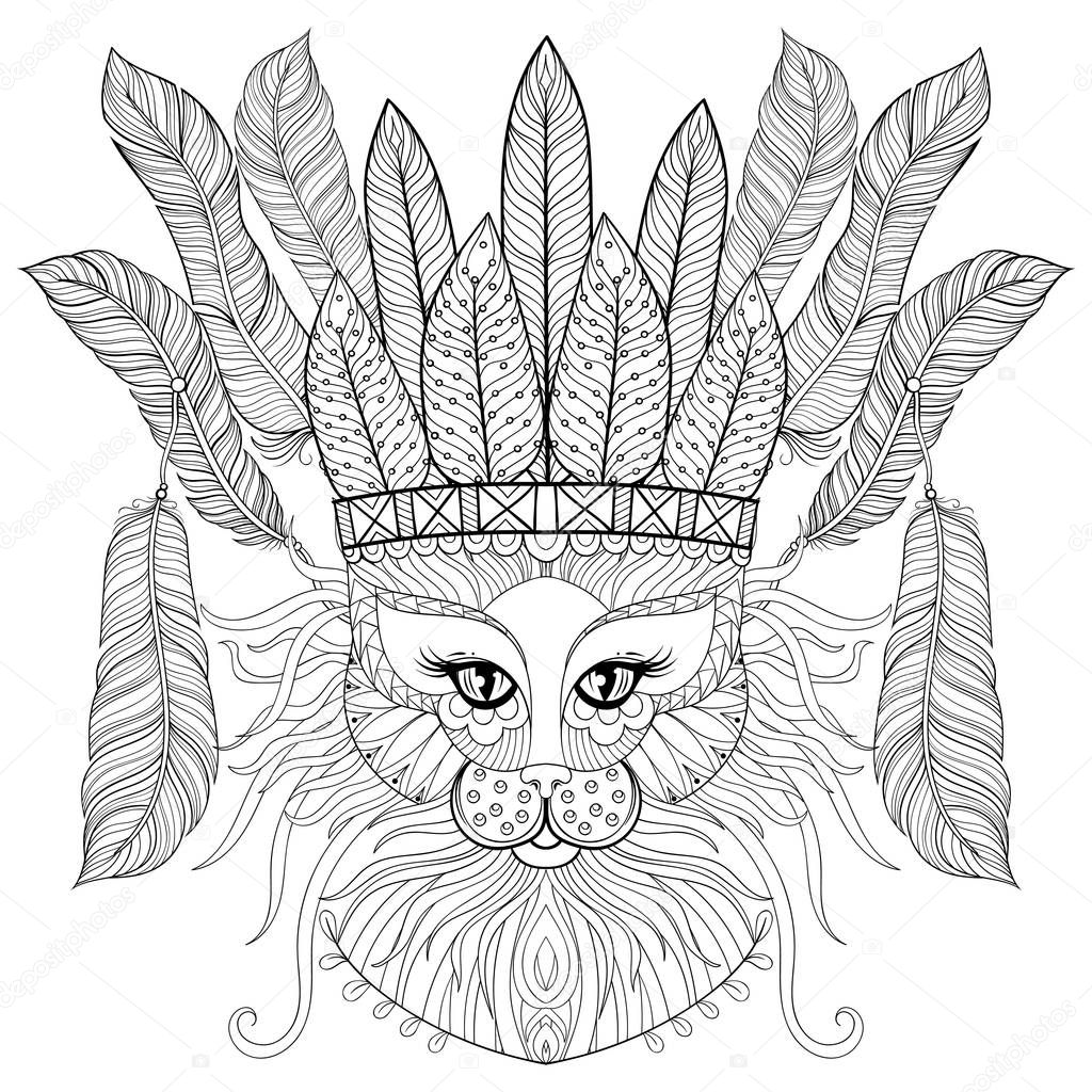 Zentangle Cat with indian war bonnet, bird feathers for adult antistress coloring pages, books, art therapy. Ornament artistic vector illustration for tattoo, t-shirt print.