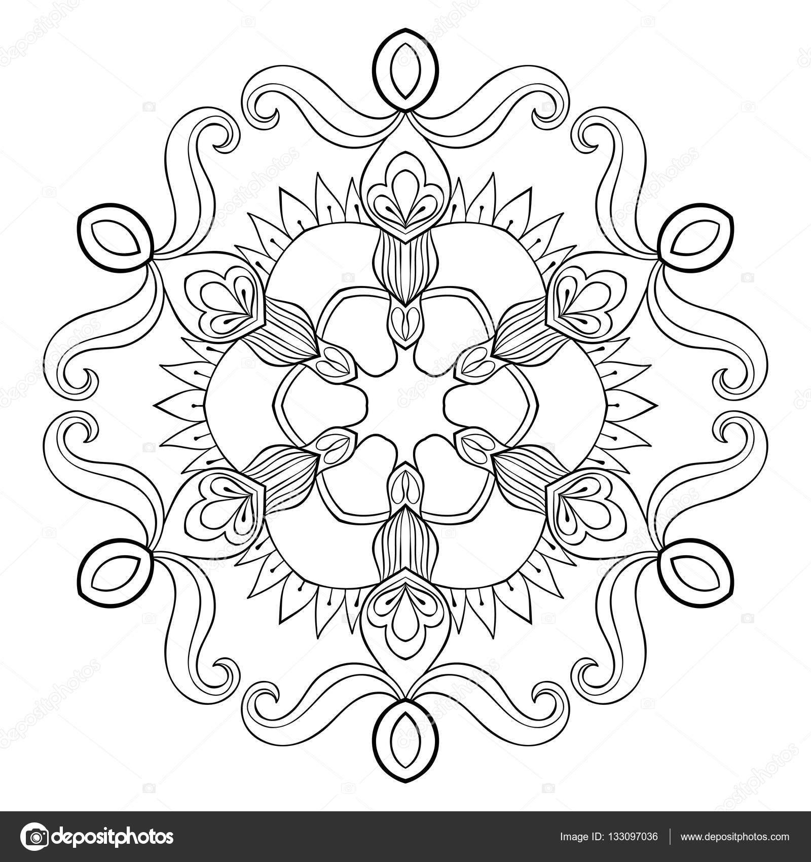 Flocon de neige détouré vecteur papier en zentangle style mandala pour adultes coloriages Illustration d ornement hiver  main levée pour la décoration