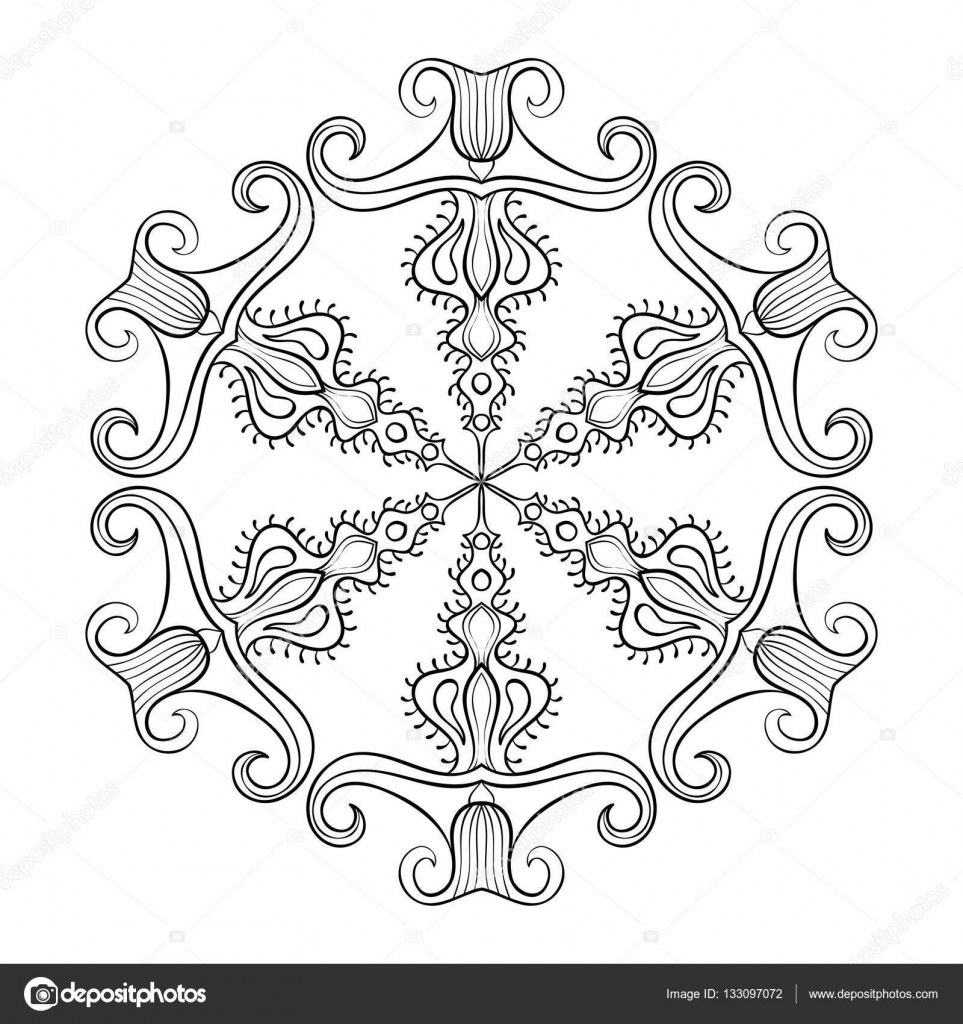 vector paper cutout snow flake in zentangle style doodle mandala