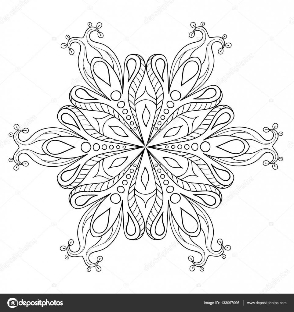 Zentangle Zarif Kar Tanesi Vektör Süs Kış Illüstrasyon Dekorasyon