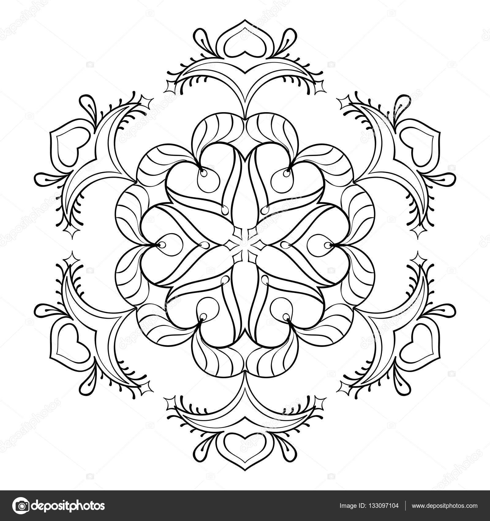 Disegni Di Natale Da Colorare Per Adulti.Fiocco Di Neve Zentangle Vettoriale Elegante Mandala Per