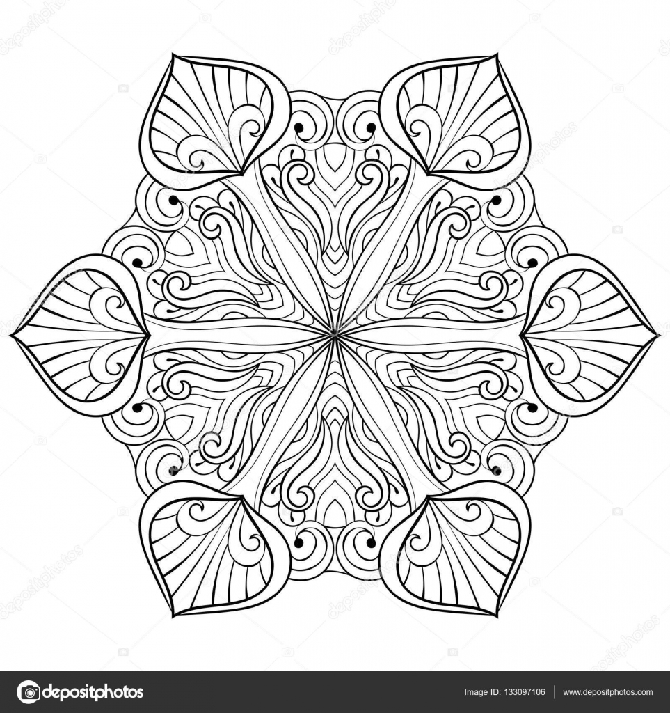 Vector Snow Flake In Zentangle Doodle Style Mandala For Adult Coloring Pages Ornamental Freehand Winter Illustration For Decoration Christmas Greeting Cards Invitation Template Stock Vector C I Panki 133097106