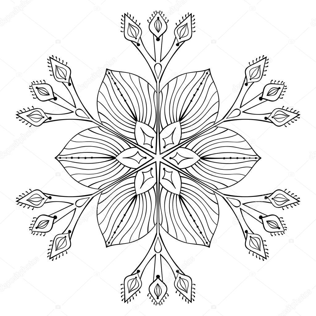 vector snow flake in zentangle doodle style black mandala