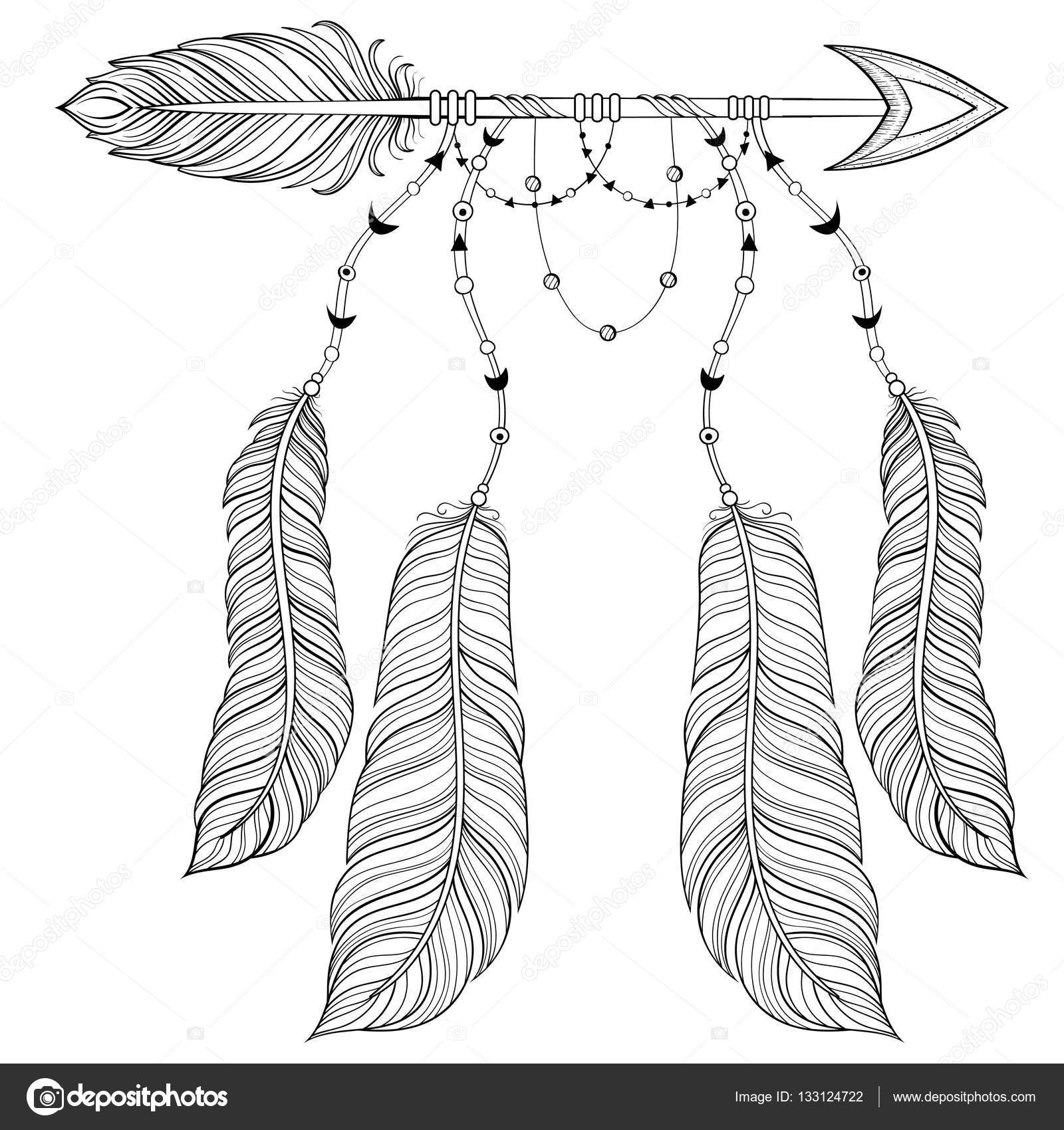 Vector Ethnic Arrow With Bird Feathers Boho Style Concept