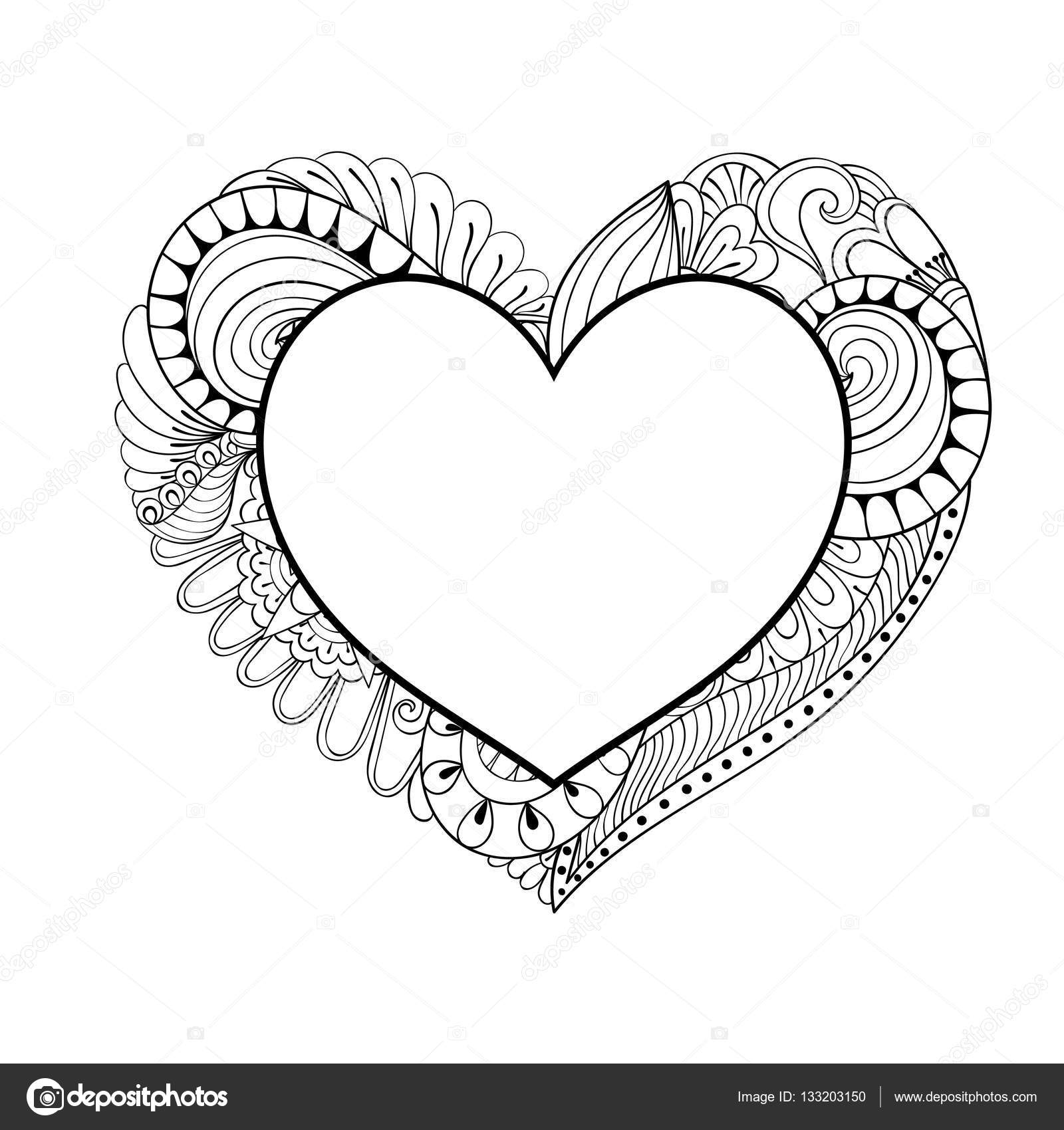 Floral Doodle Heart Frame In Zentangle Style For Adult Coloring Page Hand Drawn Vector Monochrome Illustration Valentines Day Greeting Card Template