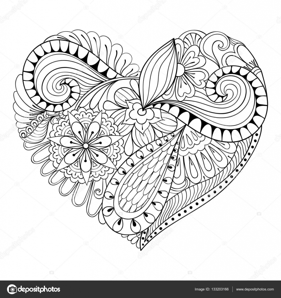 Artistic Floral Doodle Heart In Zentangle Style For Adult Coloring Page Hand Drawn Vector Monochrome Illustration Valentines Day Greeting Card Template