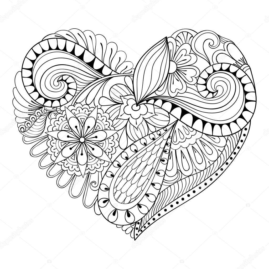 Coeur De Doodle Florale Artistique Dans Zentangle Style