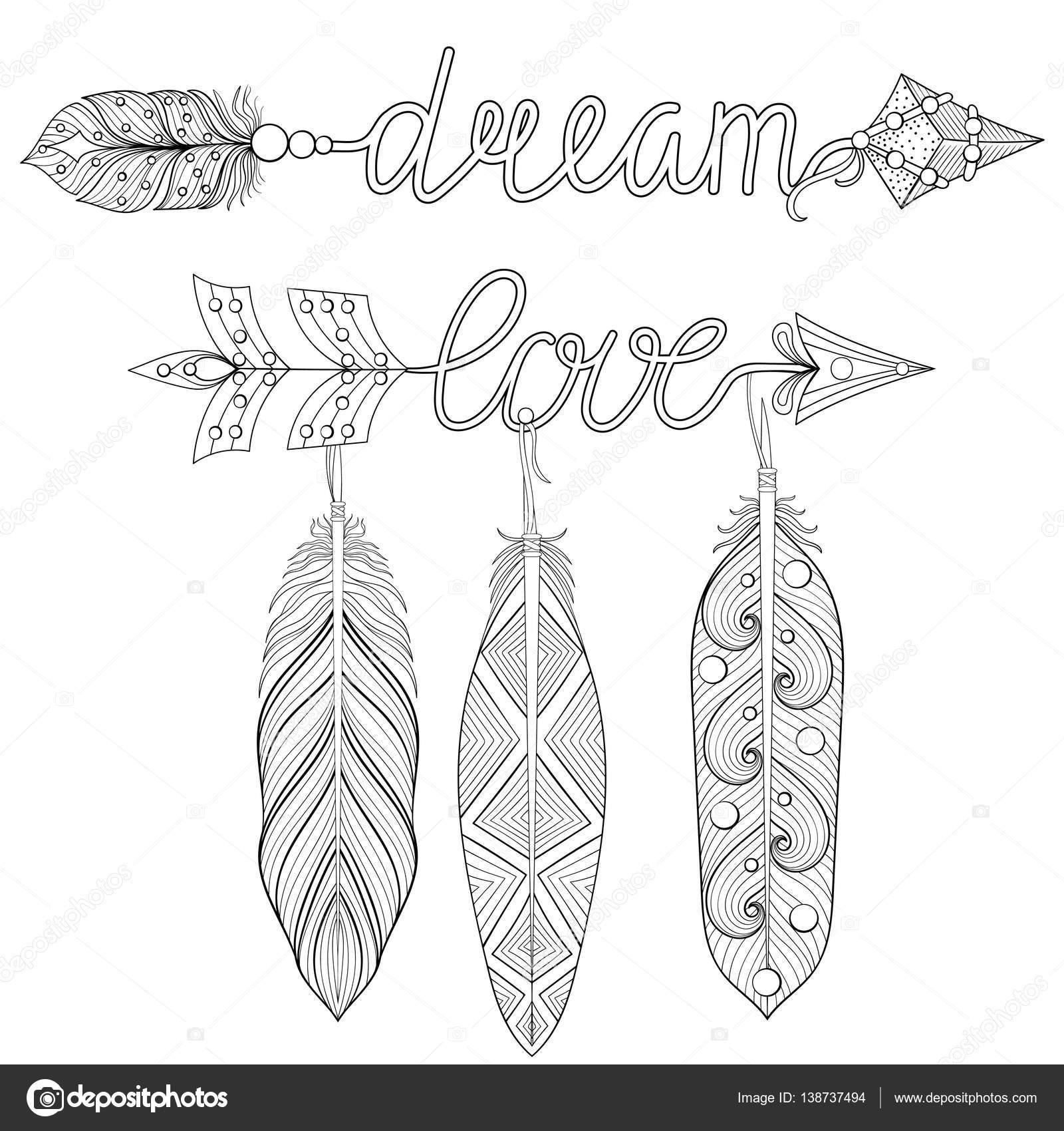 Coloriage Adulte A Imprimer Amour.Reve Boheme Fleches D Amour Serti De Plumes Pour Coloriage