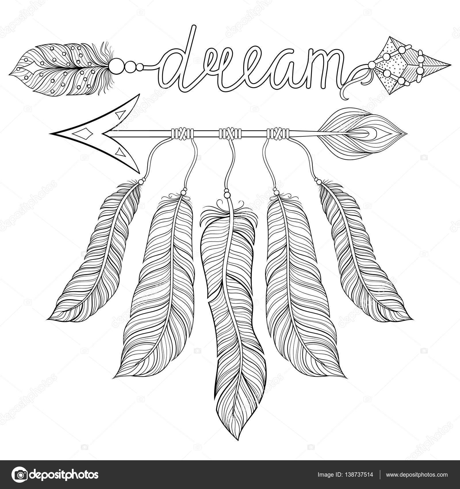 Dibujos Pluma Indio Colorear Boho Chic étnico Sueño Flecha Con