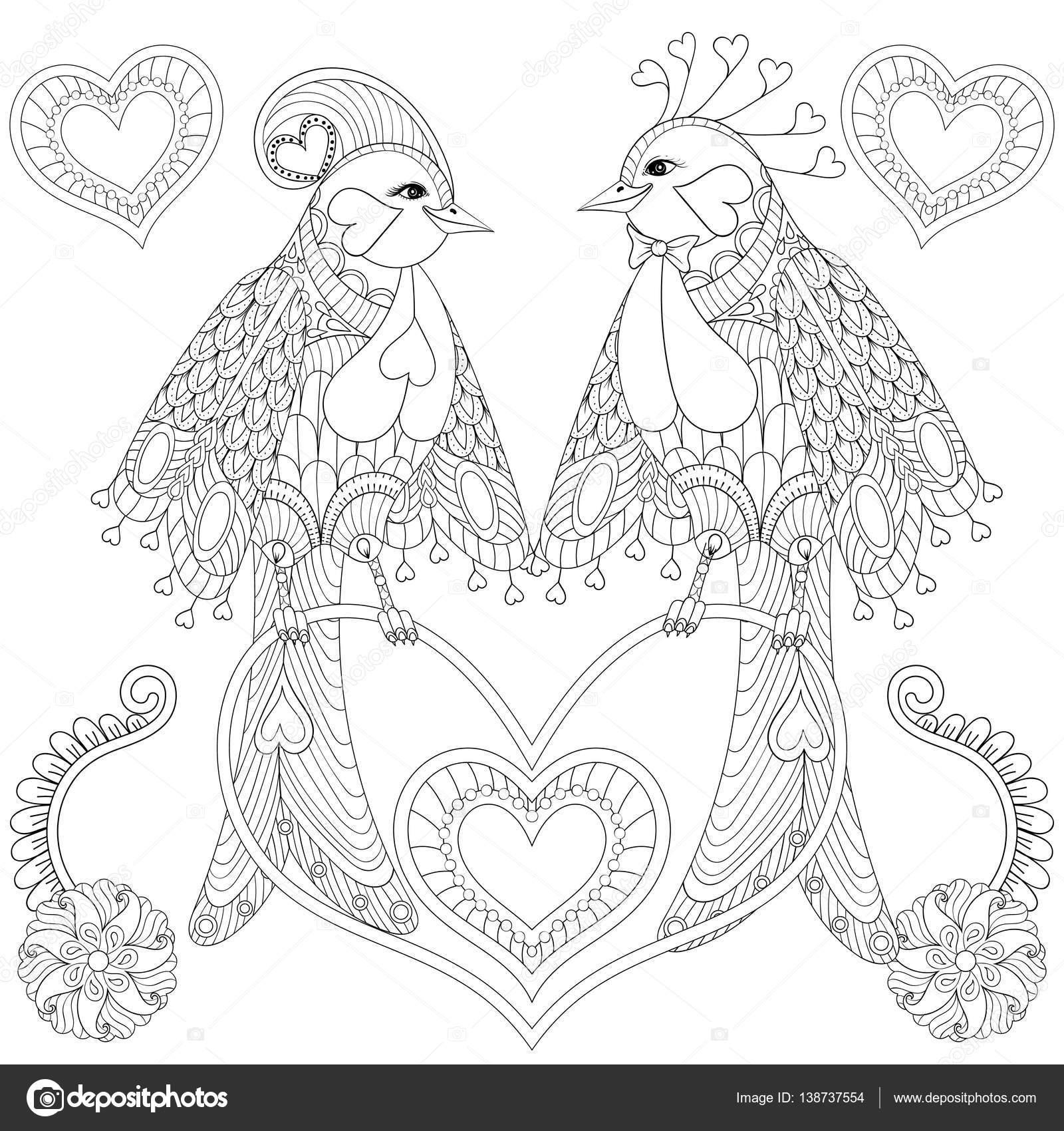 Par de aves tropicales exóticas sentado en forma de corazón rama fo ...