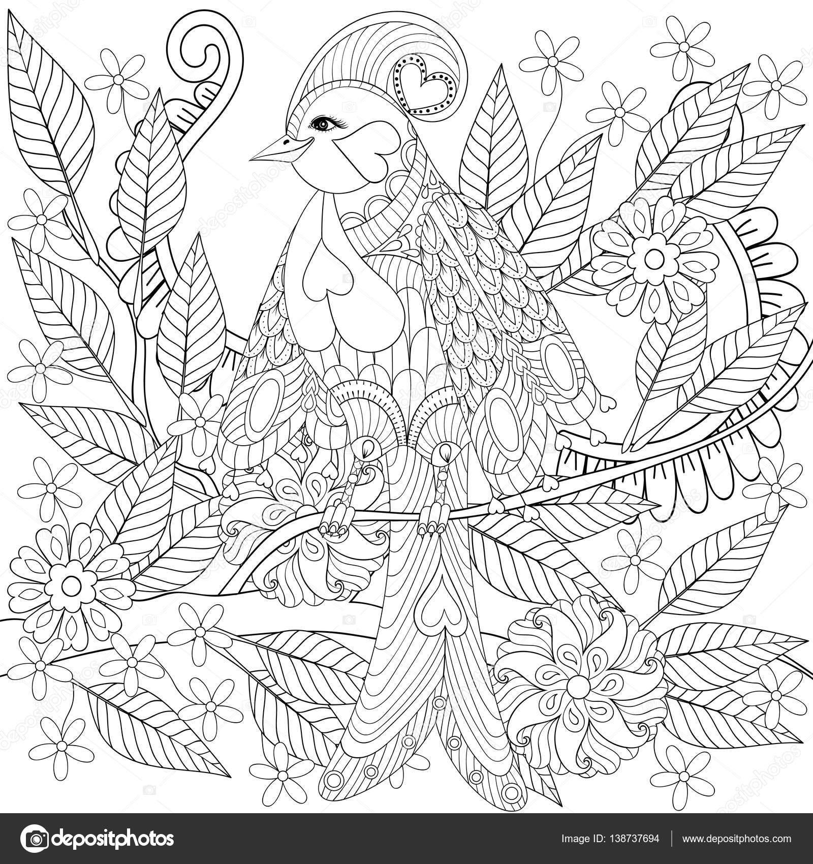 Aves exóticas tropicales zentangle sentado en la rama con flores en ...