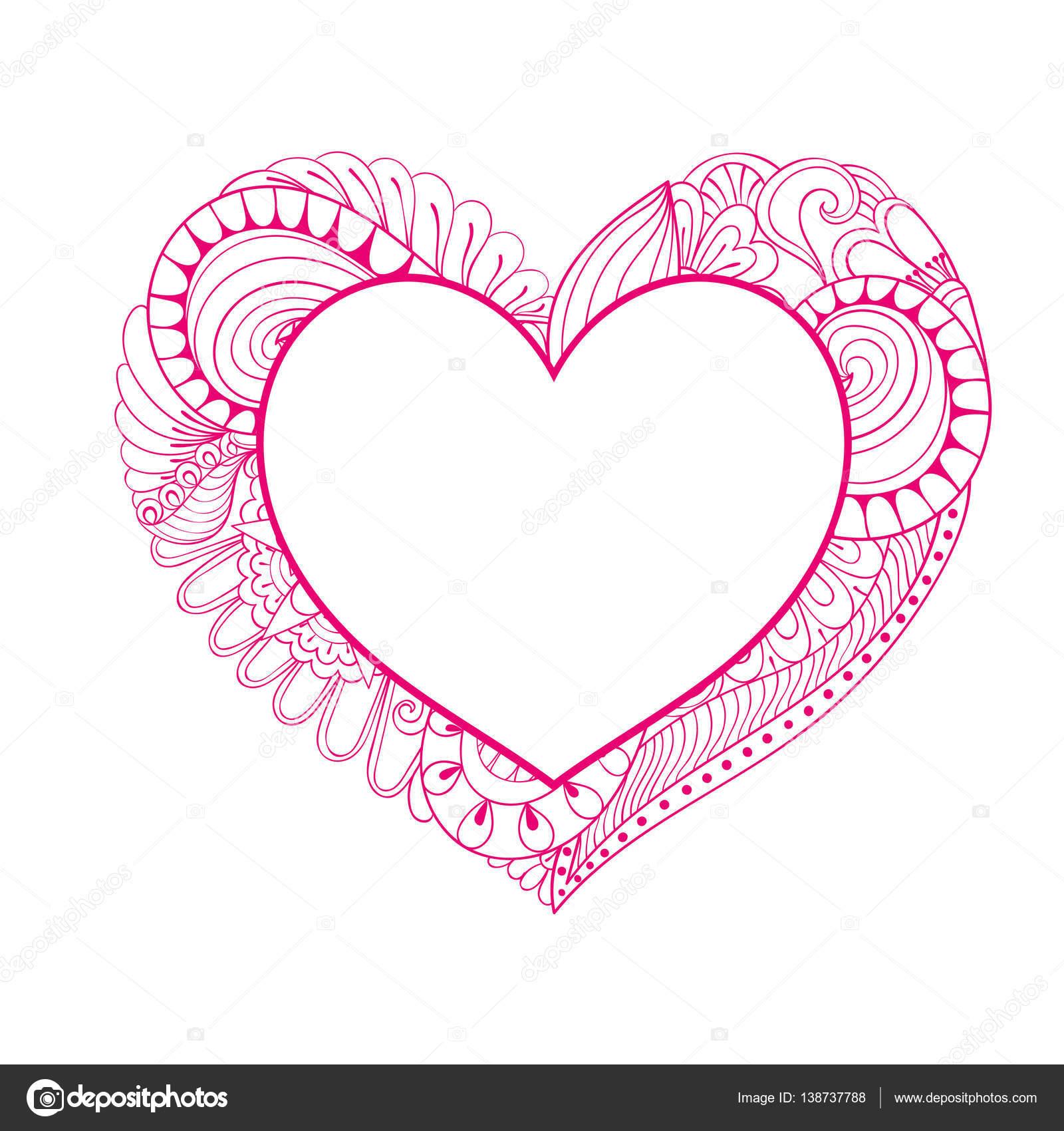 Marco de corazón Rosa floral doodle estilo zentangle para adultos ...
