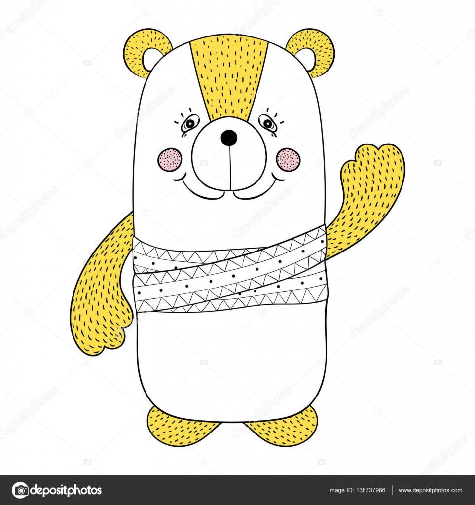 面白いカラフルなクマ、子供の本、動物イラスト t シャツ — ストック