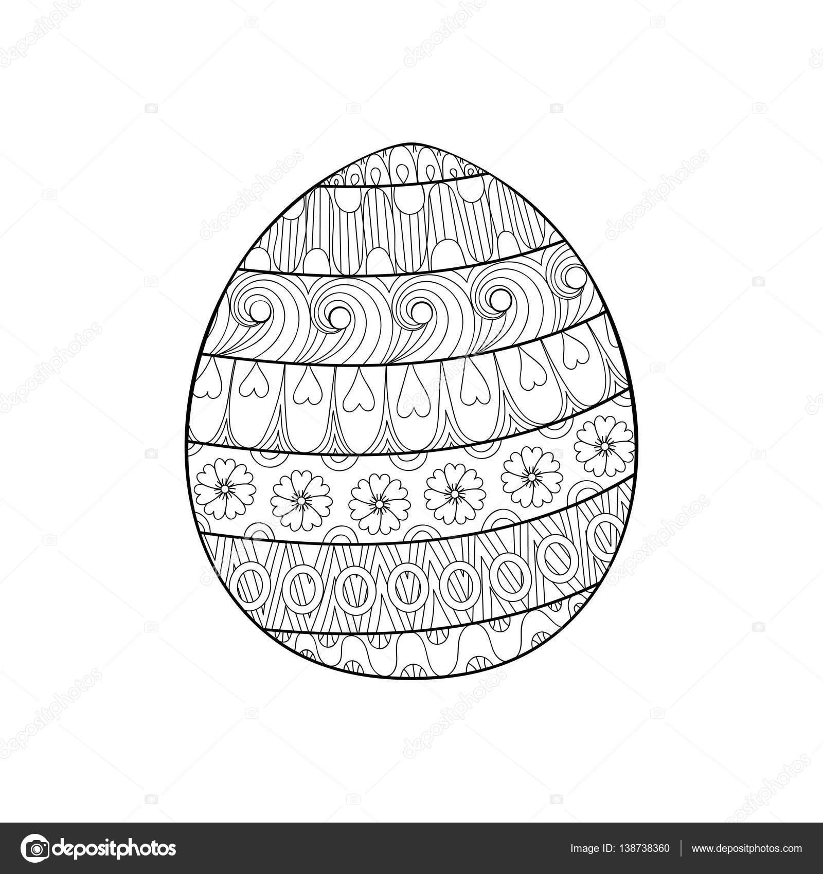 Happy Easter Egg De Zentangle Decorada Con Ornamento Doodl
